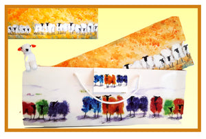 Original Acrylic Painting - Orange Blossom Sheep 18x6 ins (45x15 cm)