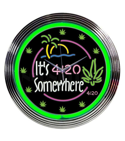 Ii's 4:20 Somewhere Neon Clock