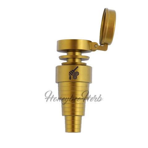 Honeybee Herb Titanium 6-in-1 Carb Cap Nail Universal 6-in-1 Connection Grade 2 Titanium Built in Carb Cap Compatible with Male & Female Joints Fits 10mm, 14mm, 18mm Joints Butane Torch Recommended