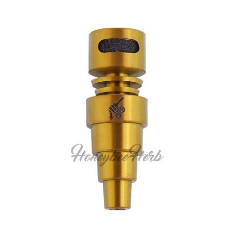 Honeybee Herb Titanium 6-in-1 Moon Rock Dab Nail Universal 6-in-1 Connection Grade 2 Titanium Fits 10mm, 14mm, 18mm Joints Compatible with Male & Female Joints Compatible with Most 25mm Carb Caps Butane Torch Recommended
