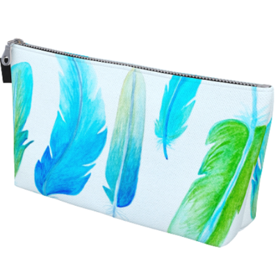 "Mildred's Room Designs - Artist Print Feathers 10"" Makeup Bag"
