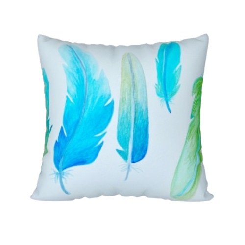 Mildred's Room Designs - Artist Print Blue Feathers Pillow 22x22