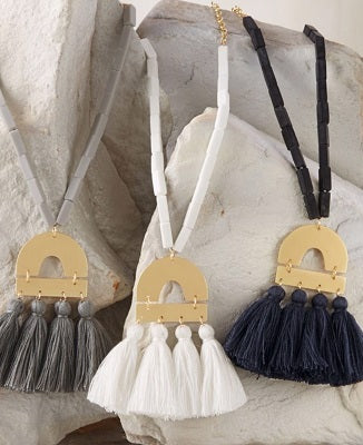 Mud Pie Gold Metal Tassel Necklace