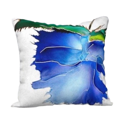 Artist Print Accent Pillow - 18x18 Blue Flower