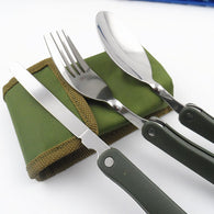SurvivalBox Collapsible Camping Utensils Set w/ Military Green Belt Pouch