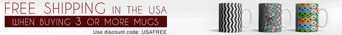 Free shipping when ordering 3 or more mugs. Only available in USA. Use discount code USAFREE