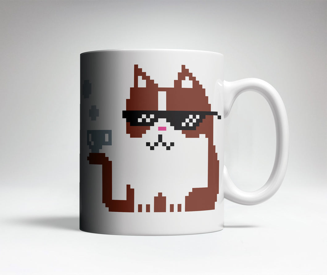 8-bit Cat Cute Coffee Mug