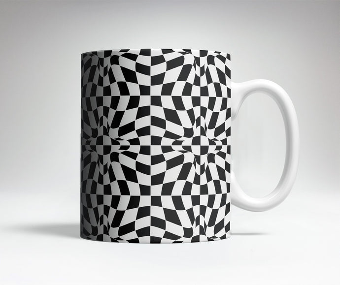 Checkered Distortion Optical Illusion Mug