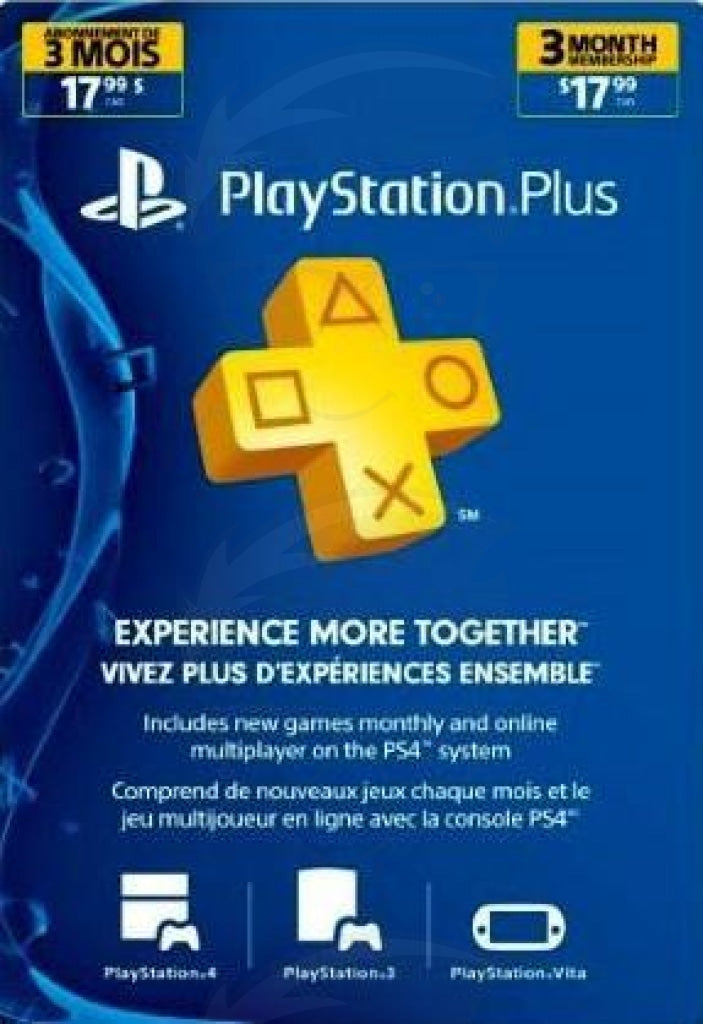 PlayStation Plus 3 Months Membership Card (USA)