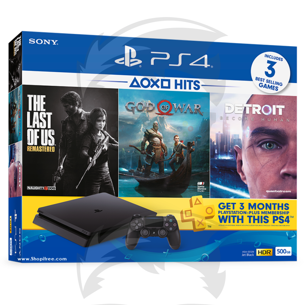 Playstation 4 500GB with (God of War + Detroit + The Last of Us + 3 Months Membership)