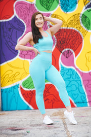 Oxygen Neon Leggings - Blue Blaze