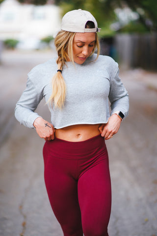The Essential Long Sleeve Crop - Aspen