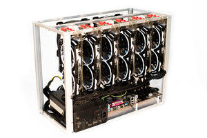 Compact mining rig frame for up to 6 GPUs