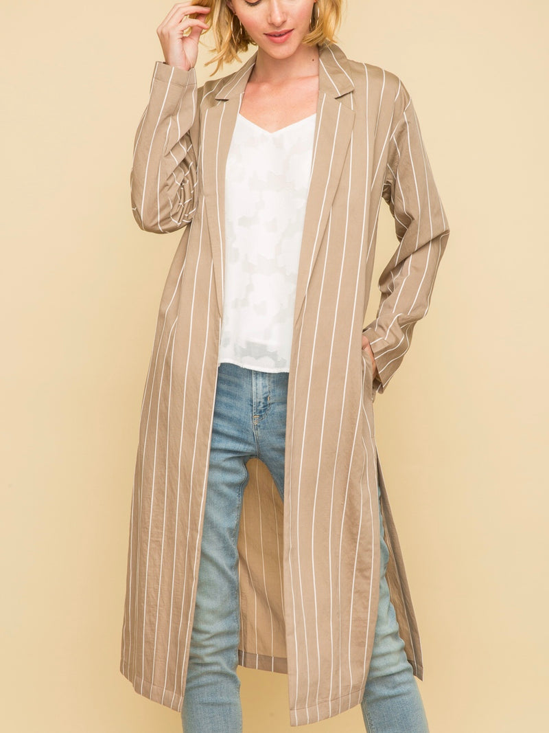Striped Long Blazer Duster