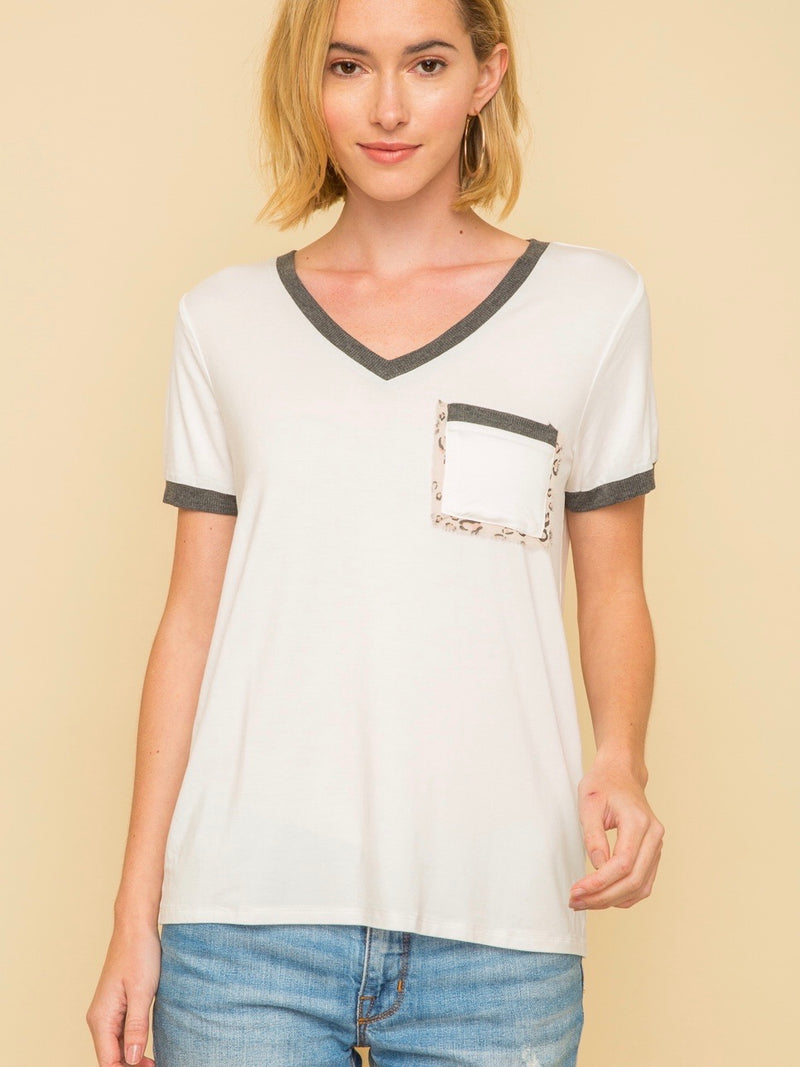 Leopard Trim  Pocket Tee