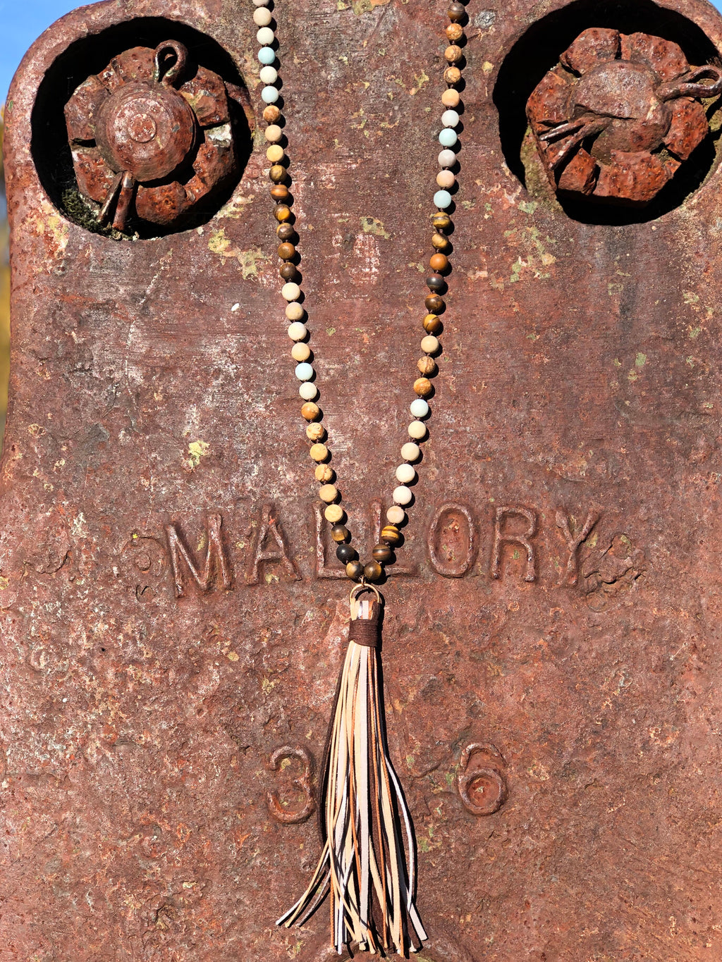 Leather Tassel Necklace With Beads