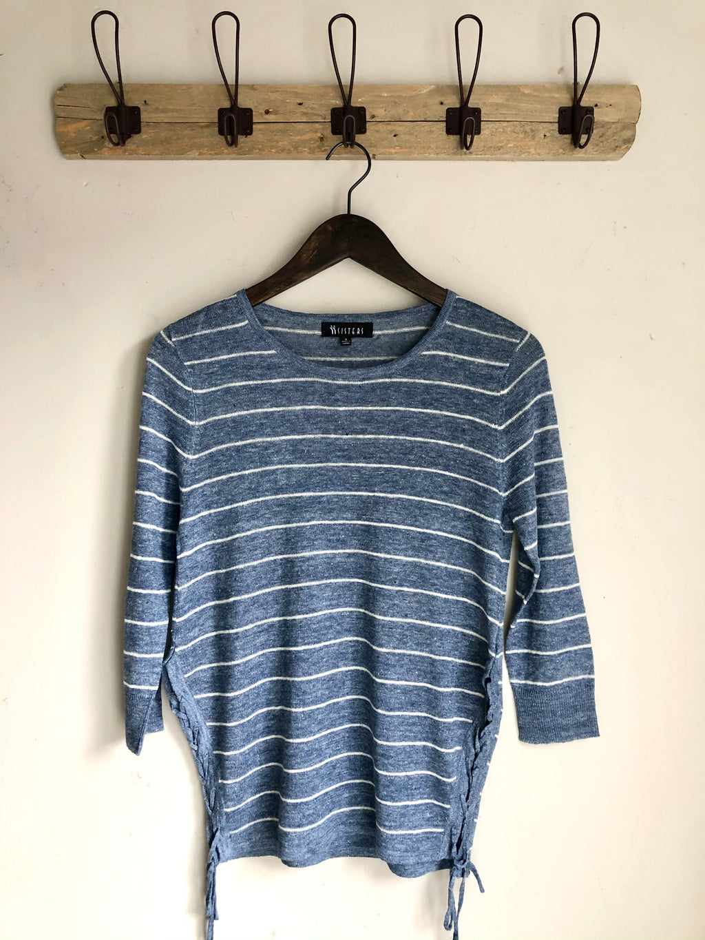 Abby Stripe Linen Top/ Tie sides