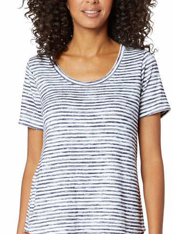 Sandy Printed Marble Stripe Short Slv Top