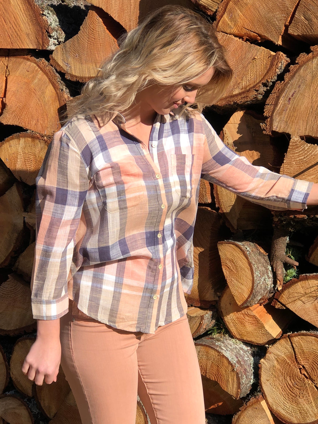 Sunny Plaid Tulip Top