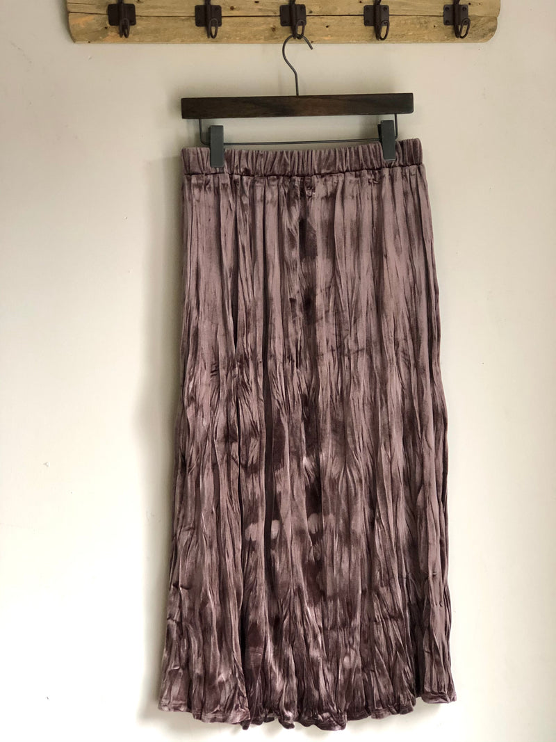 Crinkled Velvet Skirt