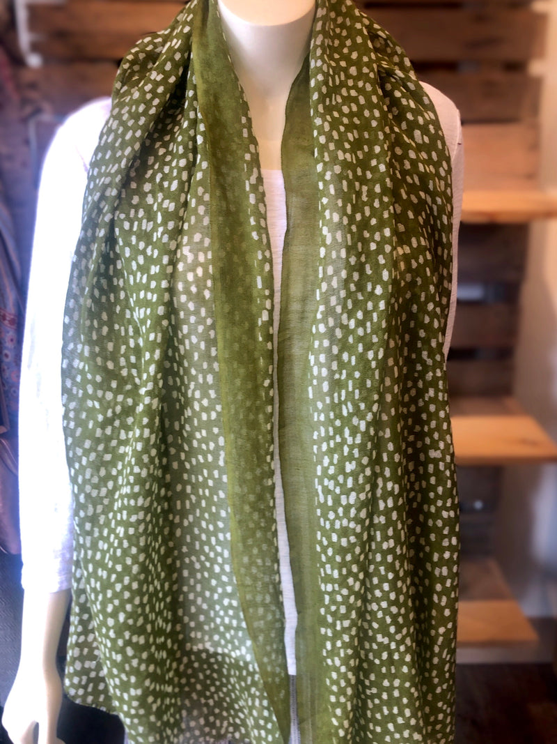 Olive  Patterned  Scarf