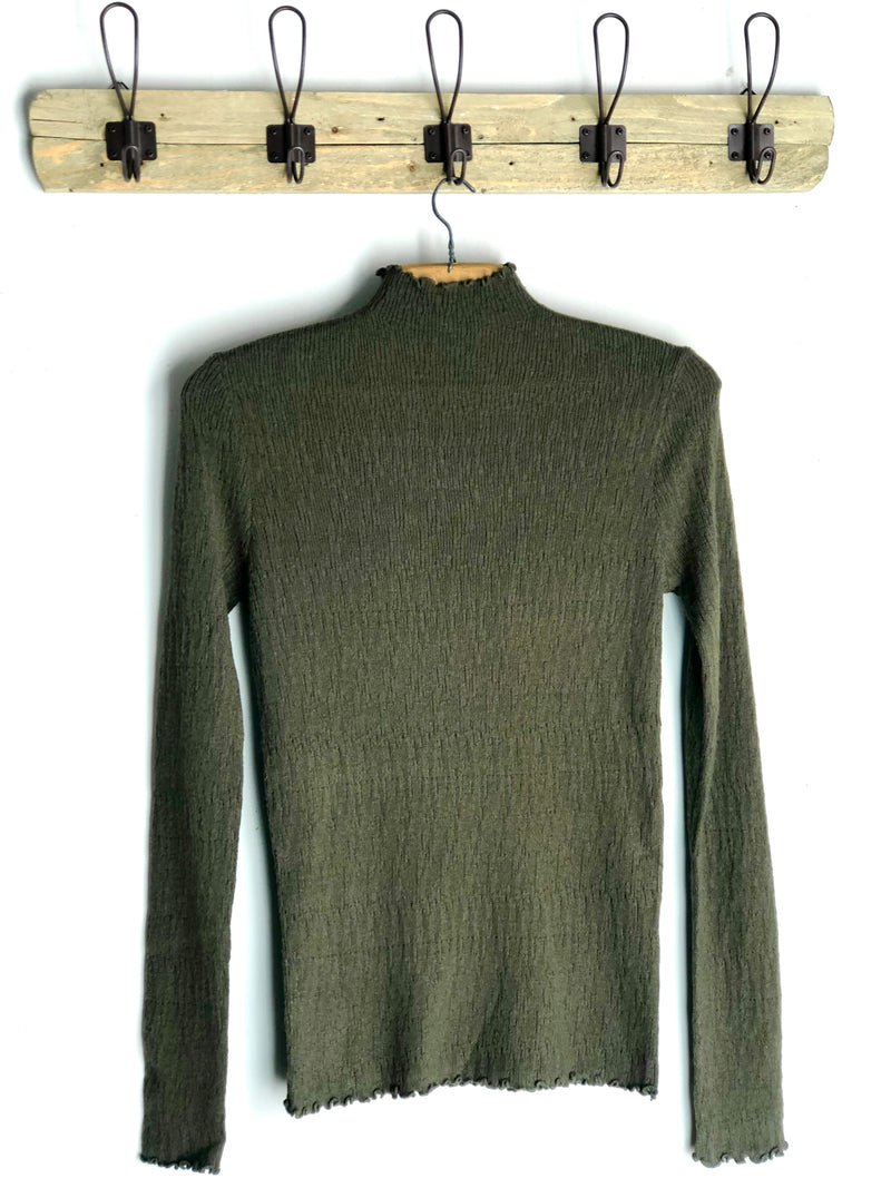 Corded Mock Neck Pullover Sweater