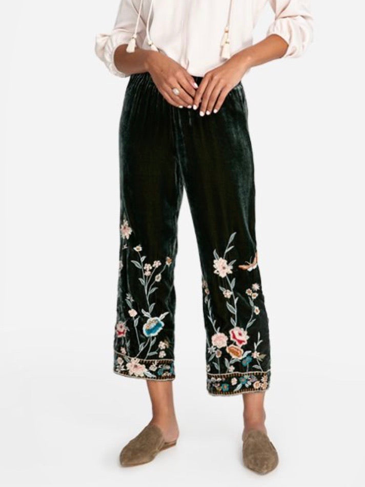 Johnny Was Serafina Velvet Pull-on Pants
