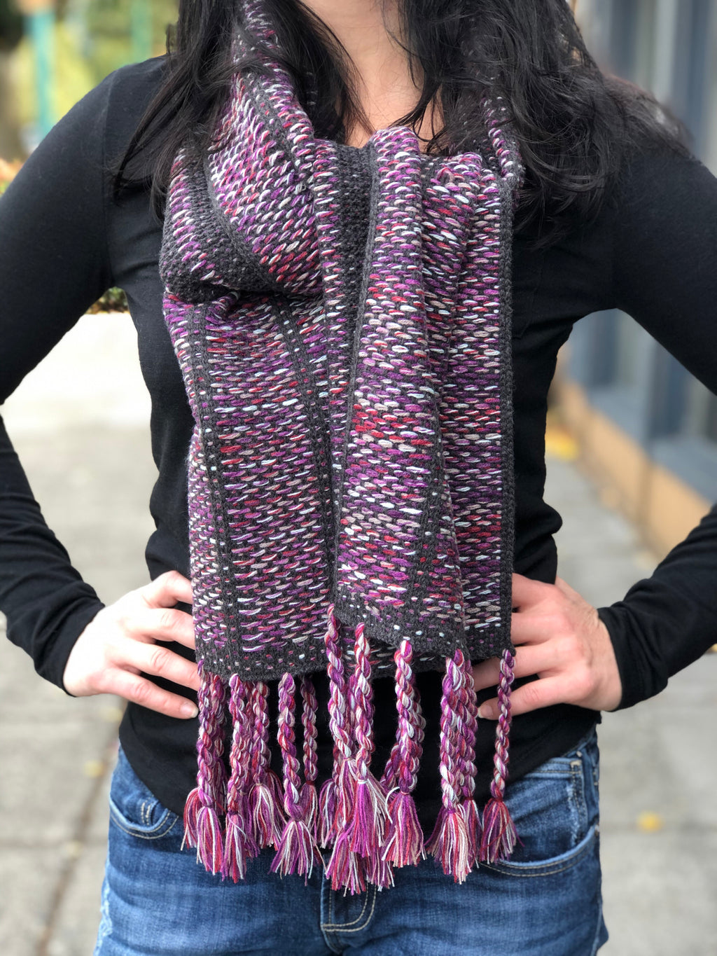 Berry and Charcoal Scarf