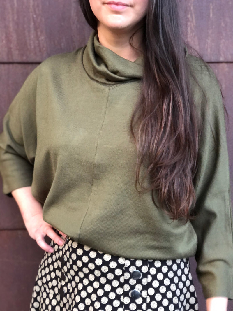Olive Funnel Neck Sweater