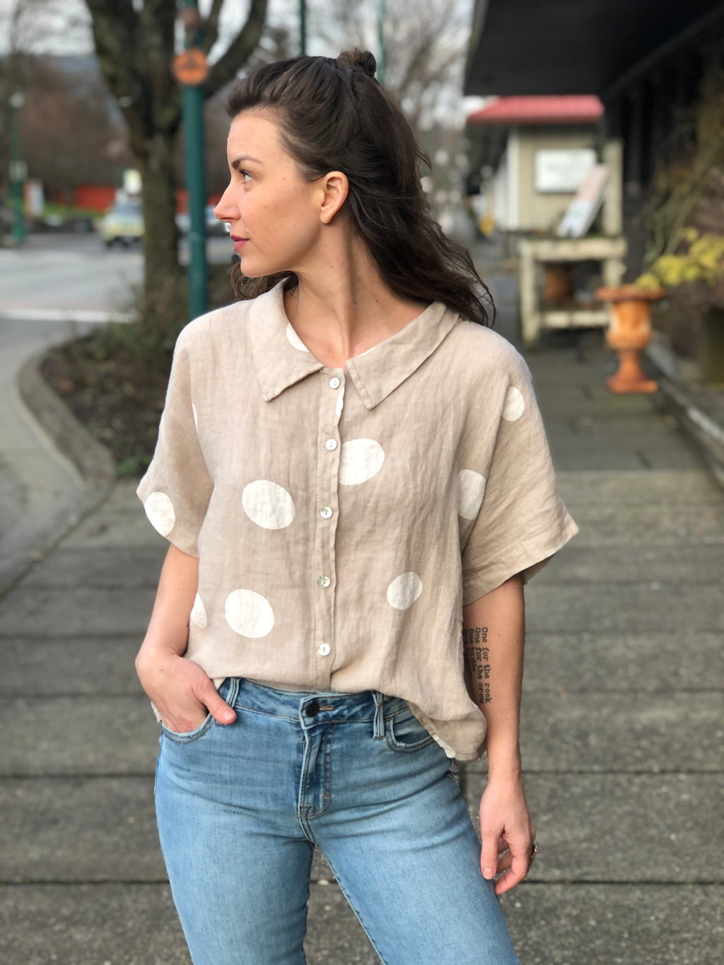 Sand Polka Dot Linen Top
