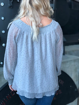 Dot Pattern Chiffon Blouse