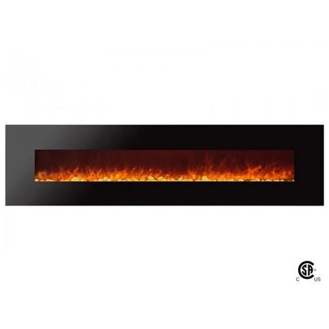 "95"" Royal Wall Mount Electric Fireplace with Pebbles"