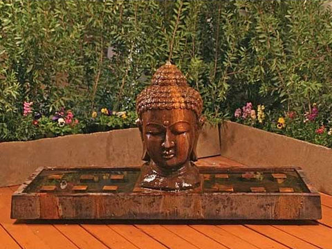 Buddha Head Outdoor Fountain - Large