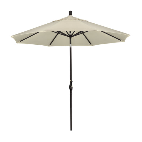 California 9' Patio Umbrella with Push Button Tilt and Crank Lift in Pacifica Fabric and Stone Black Pole