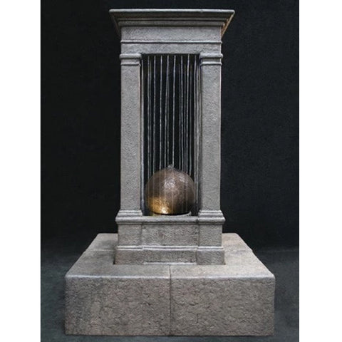 Old World Curtain Rain Fountain, Tall with Sphere