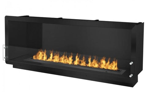 "Ignis 64.25"" Wide One-Sided Ethanol Burning Smart Firebox in Black"