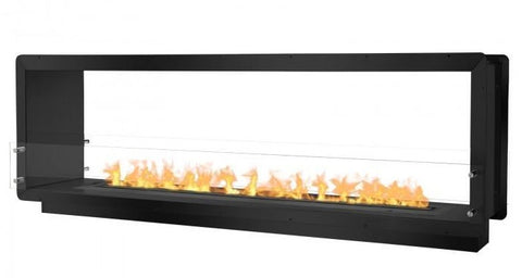 "Ignis 78.5"" Wide Double-Sided Ethanol Burning Smart Firebox in Black"