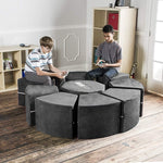 Moz Octagon 9 Piece Sectional Seating Arrangement - Microsuede Charcoal - Soothing Company