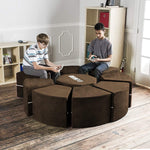 Moz Octagon 9 Piece Sectional Seating Arrangement - Microsuede Chocolate - Soothing Company