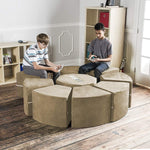 Moz Octagon 9 Piece Sectional Seating Arrangement - Microsuede Camel - Soothing Company