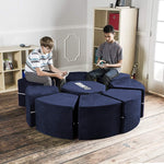 Moz Octagon 9 Piece Sectional Seating Arrangement - Microsuede Navy - Soothing Company