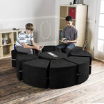 Moz Octagon 9 Piece Sectional Seating Arrangement - Microsuede Black - Soothing Company
