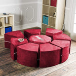 Moz Octagon 9 Piece Sectional Seating Arrangement - Microsuede Cherry - Soothing Company