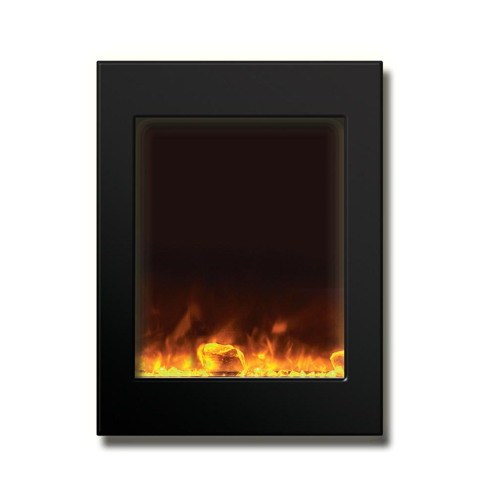 Amantii 29″ x 39″ Zero Clearance Electric Fireplace with Black Glass Surround - Soothing Company