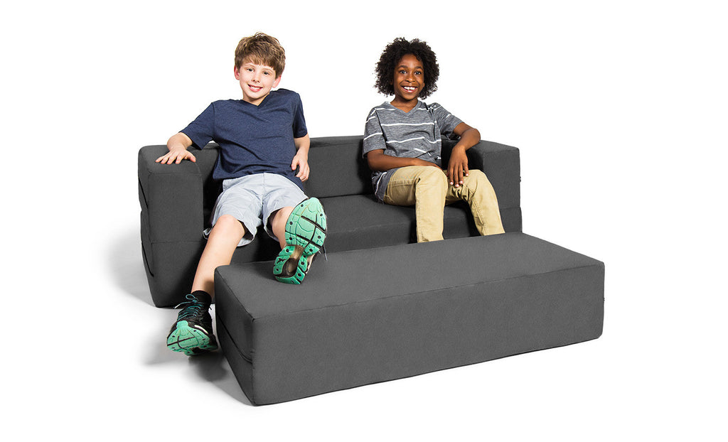 Kids Zipline Convertible Sofa & Large Ottoman Microsuede Charcoal - Soothing Company
