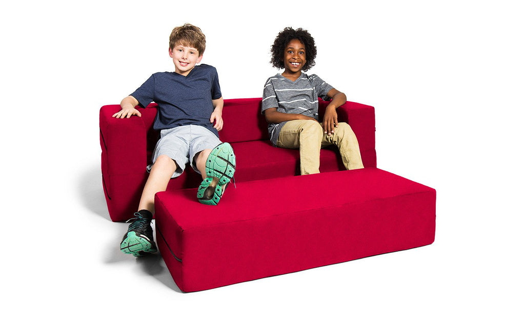 Kids Zipline Convertible Sofa & Large Ottoman Microsuede Cherry - Soothing Company
