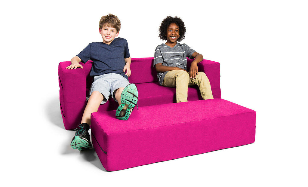 Kids Zipline Convertible Sofa & Large Ottoman Microsuede Fuchsia - Soothing Company