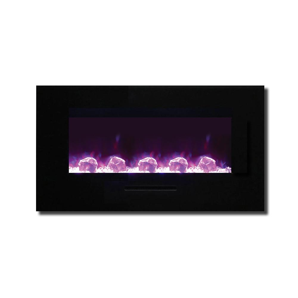 Amantii 34″ WM/FM Series Electric Fireplace with Black Glass Surround - Soothing Company
