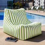 Ponce Outdoor Bean Bag in Lime Stripes - Soothing Company