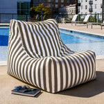 Ponce Outdoor Bean Bag in Taupe Stripes - Soothing Company